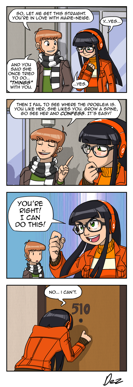 Not depicted in this strip is the fact Marie-Neige lives at the other side of the city, meaning Clementine spent a 45 minute bus ride being pumped like she is in panel 3.